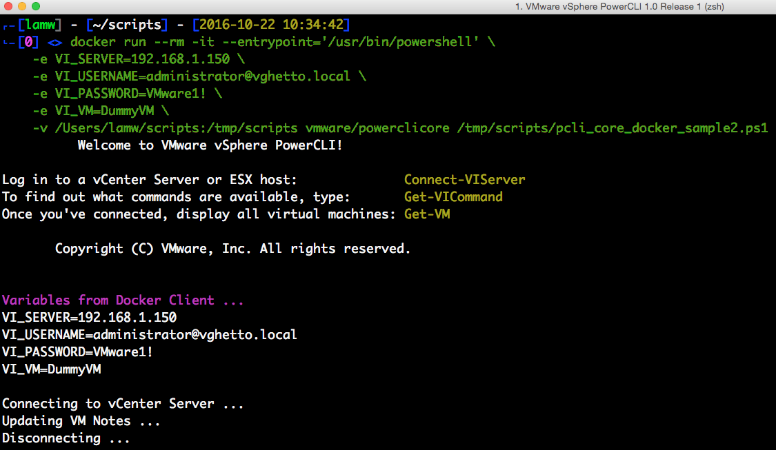 5 ways to a run PowerCLI script using the PowerCLI Docker