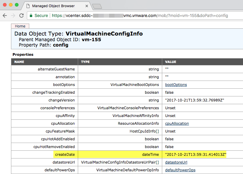 VMware Cloud on AWS – VM Creation Date available in vSphere API