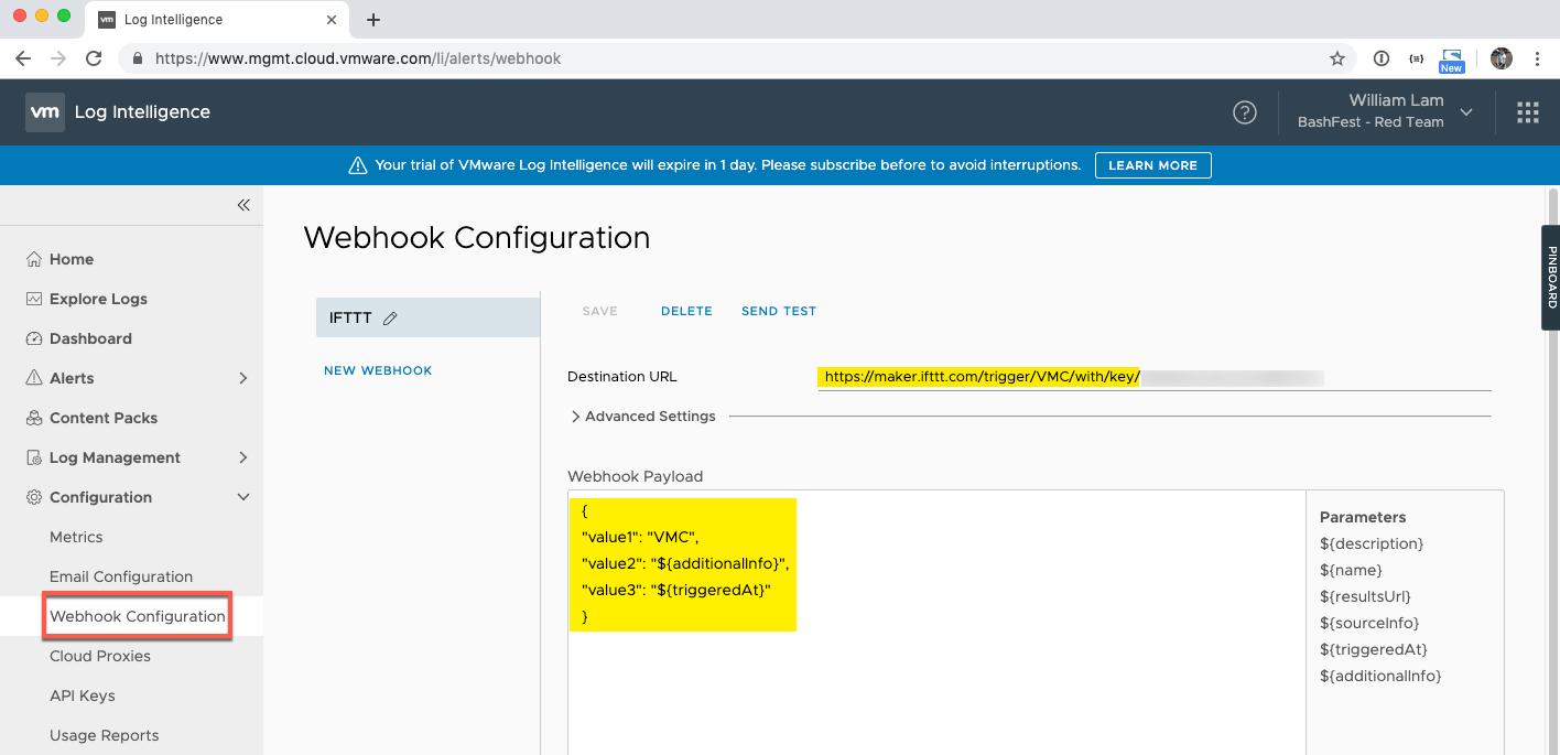 Forwarding VMC Events to Slack using Log Intelligence Webhook
