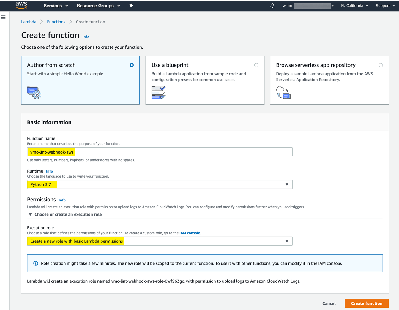 Forwarding VMC Events to AWS Lambda/CloudWatch using Log