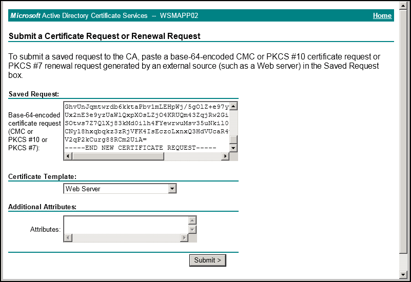 Issuing a certificate to exchange 2010 using an internal certificate paste the certificate request text from step 2 into the saved request field select web server from the certificate template drop down menu click submit yelopaper