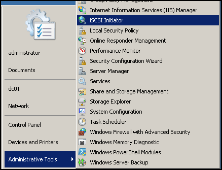 Connect an iSCSI SAN to Server 2008 R2 using the Microsoft