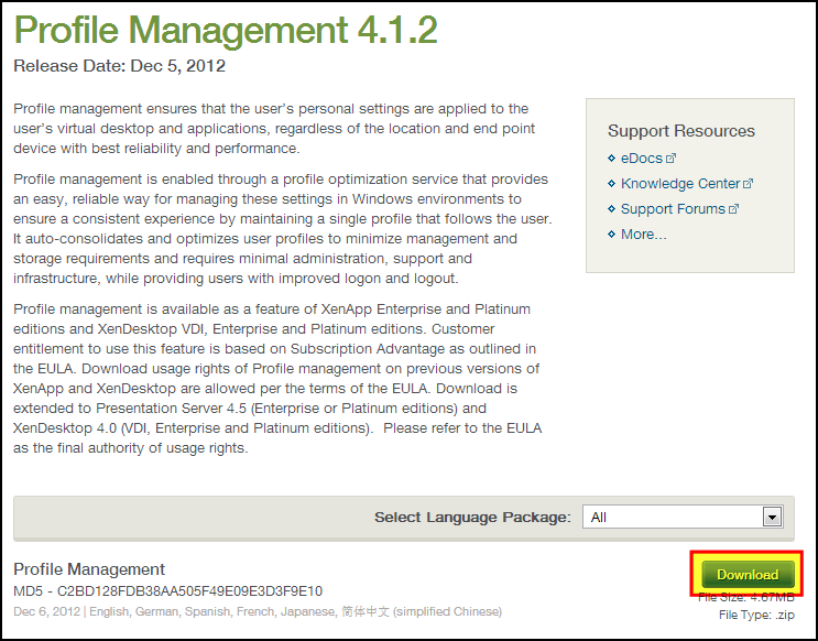 Install and Configure Profile Management for Citrix XenApp