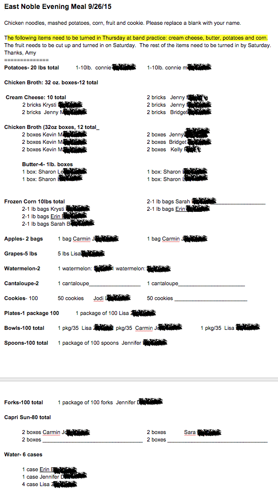 Google doc filled in privacy