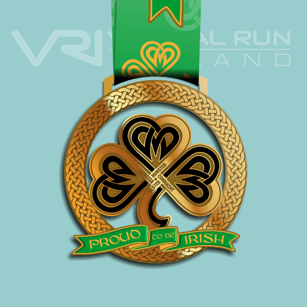 virtual medal irish shamrock, virtual run ireland, virtual running ireland, virtual medal, virtual run