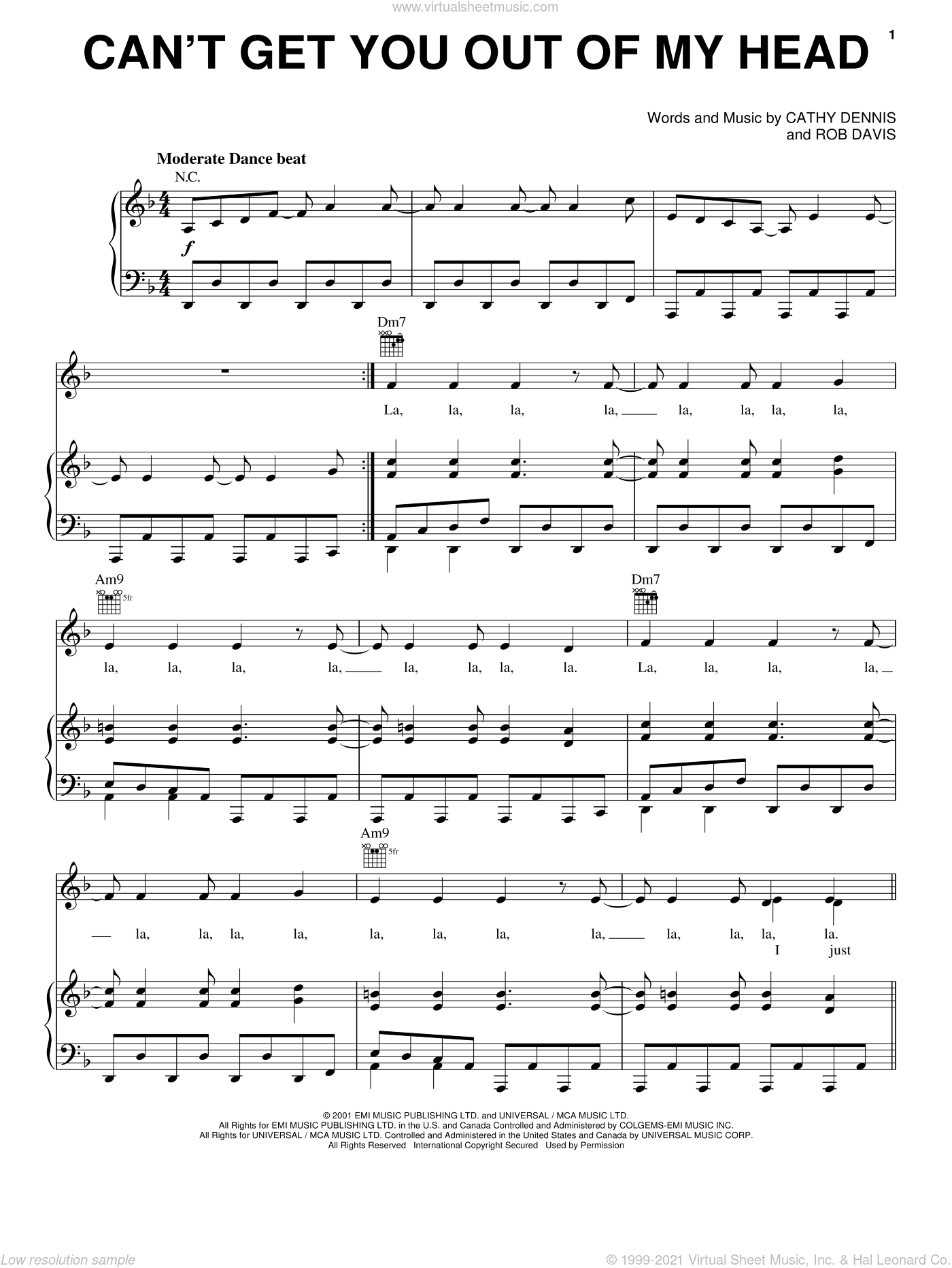 Minogue Cant Get You Out Of My Head Sheet Music For