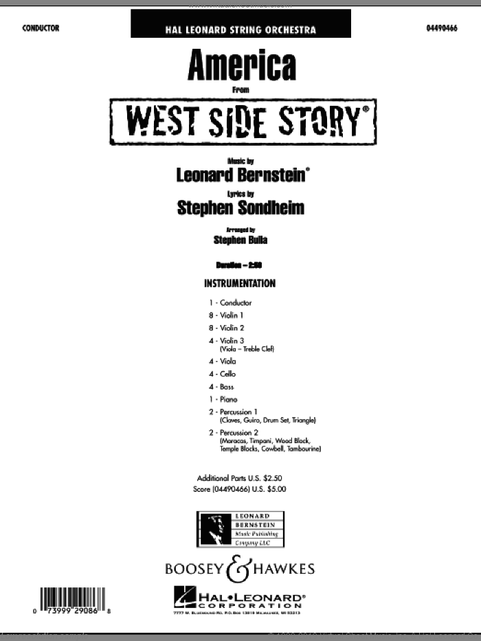 Sondheim  America from West Side Story sheet music for