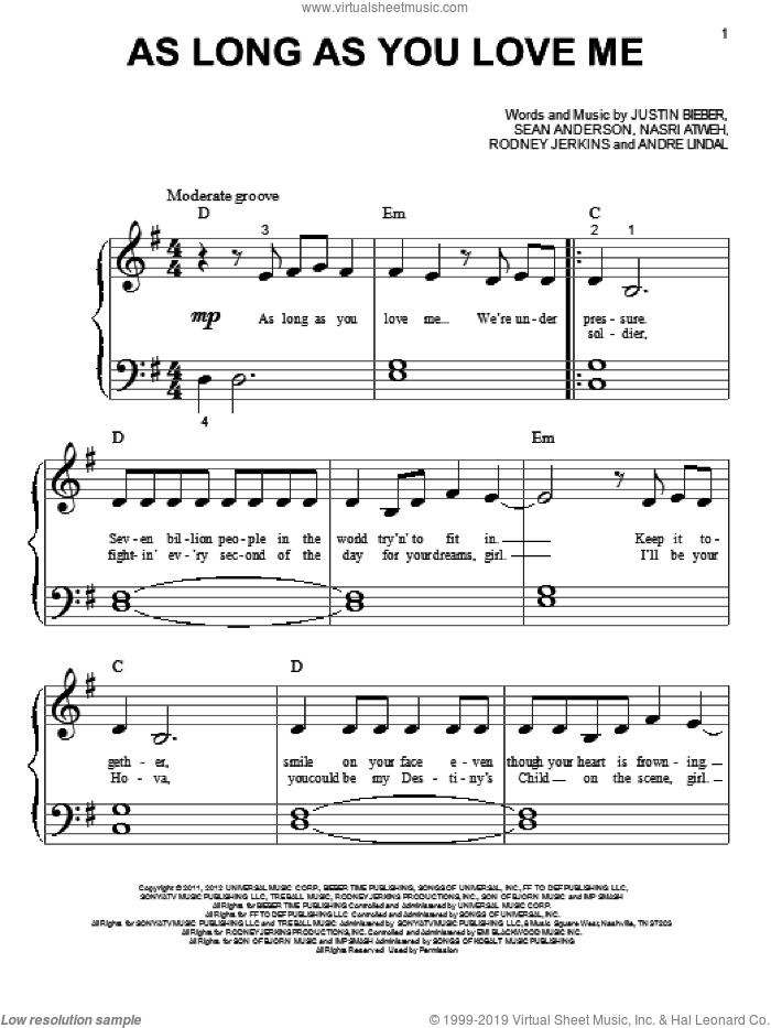 Bieber - As Long As You Love Me sheet music for piano solo (big note book)