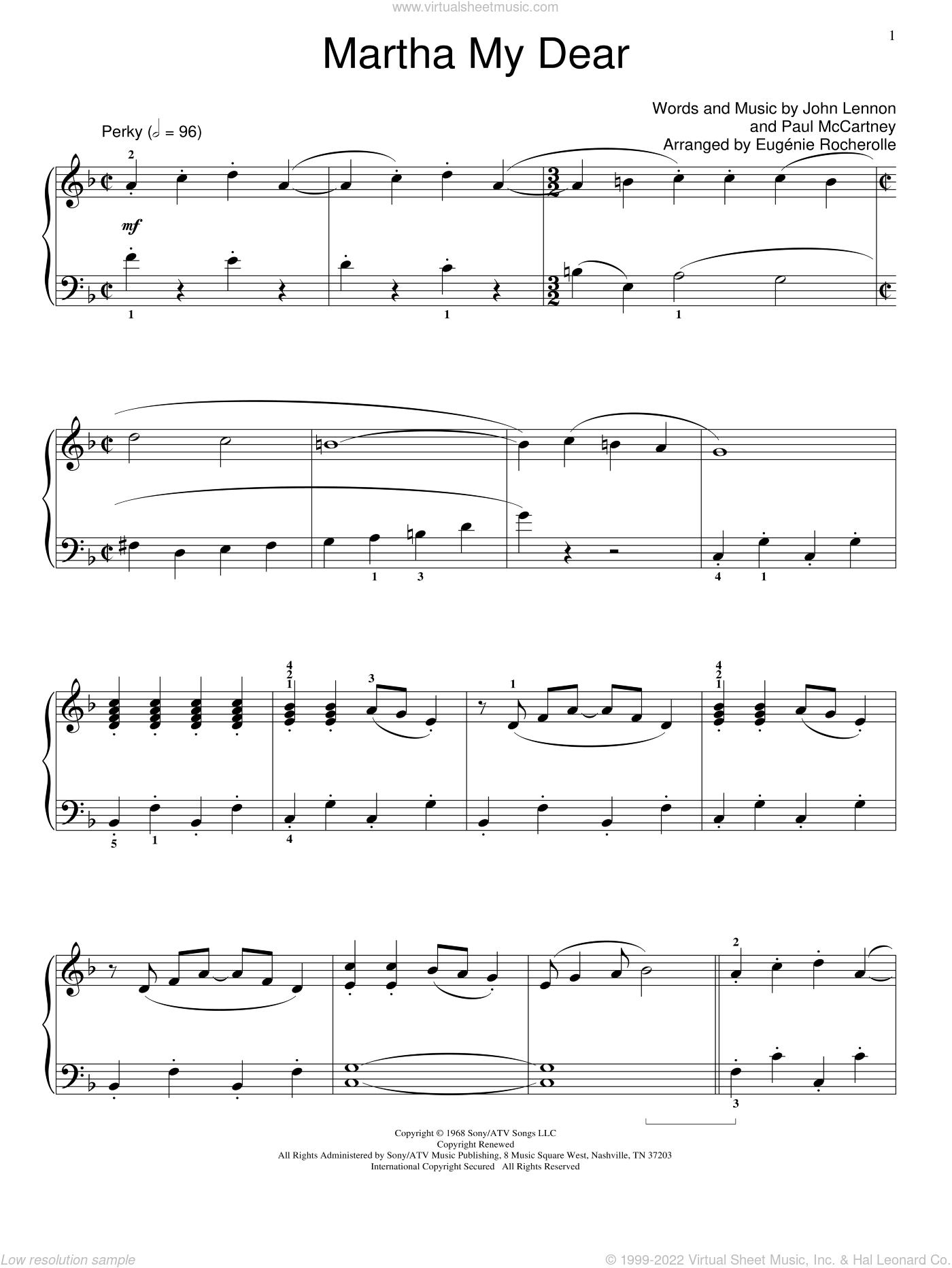 Beatles Martha My Dear Sheet Music Beginner For Piano