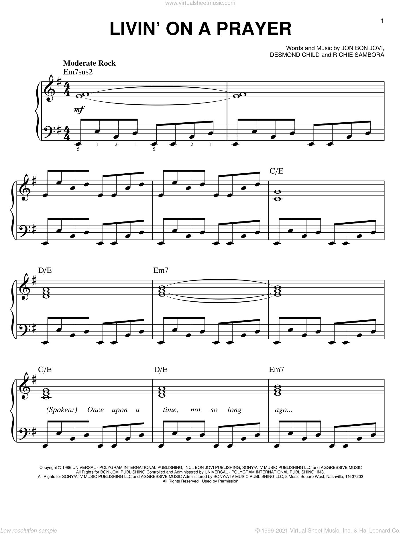 Jovi - Livin' On A Prayer sheet music (easy) for piano solo [PDF]