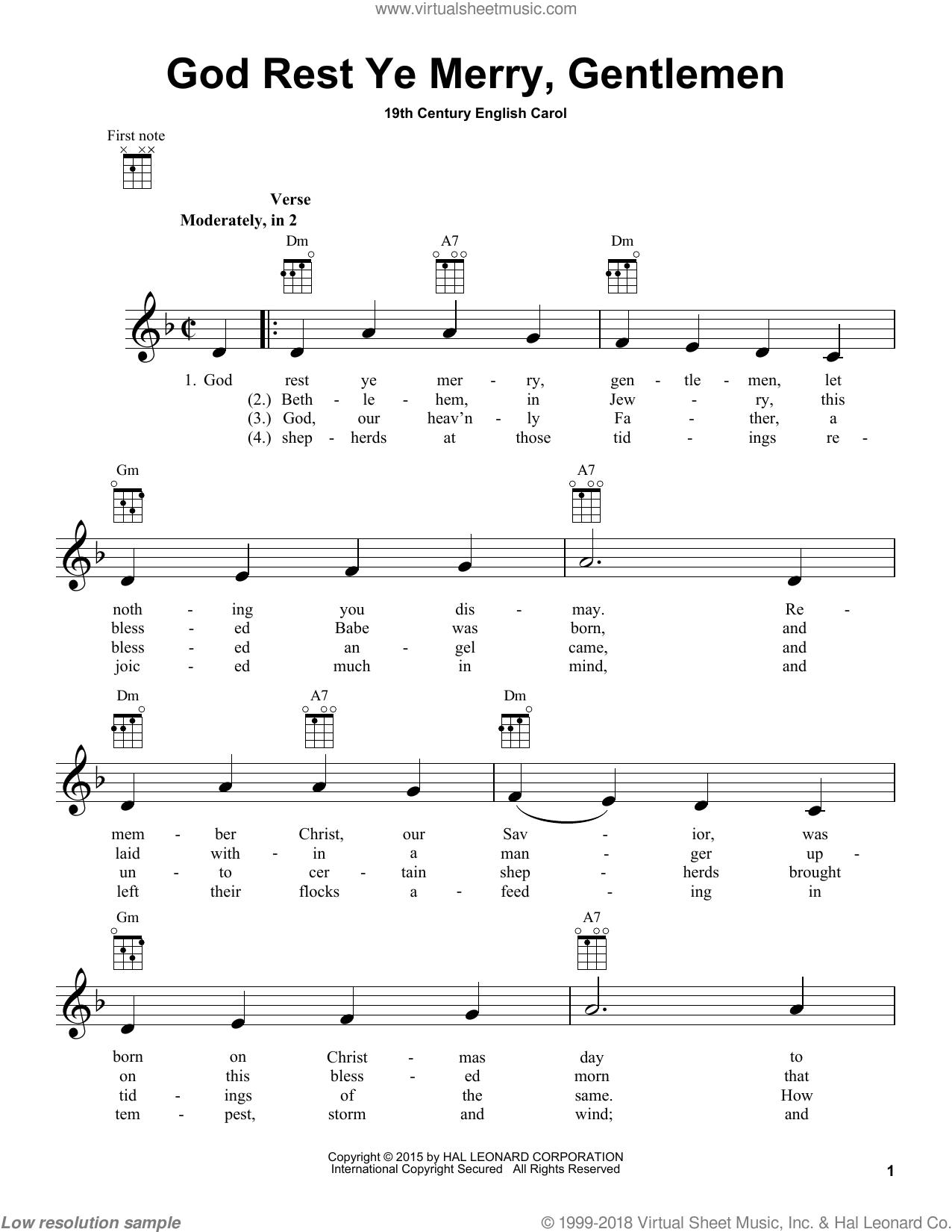 God Rest Ye Merry. Gentlemen sheet music for ukulele [PDF]
