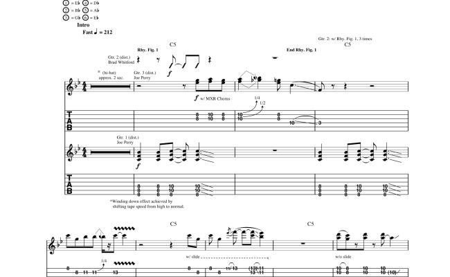 Aerosmith Rats In The Cellar Sheet Music For Guitar