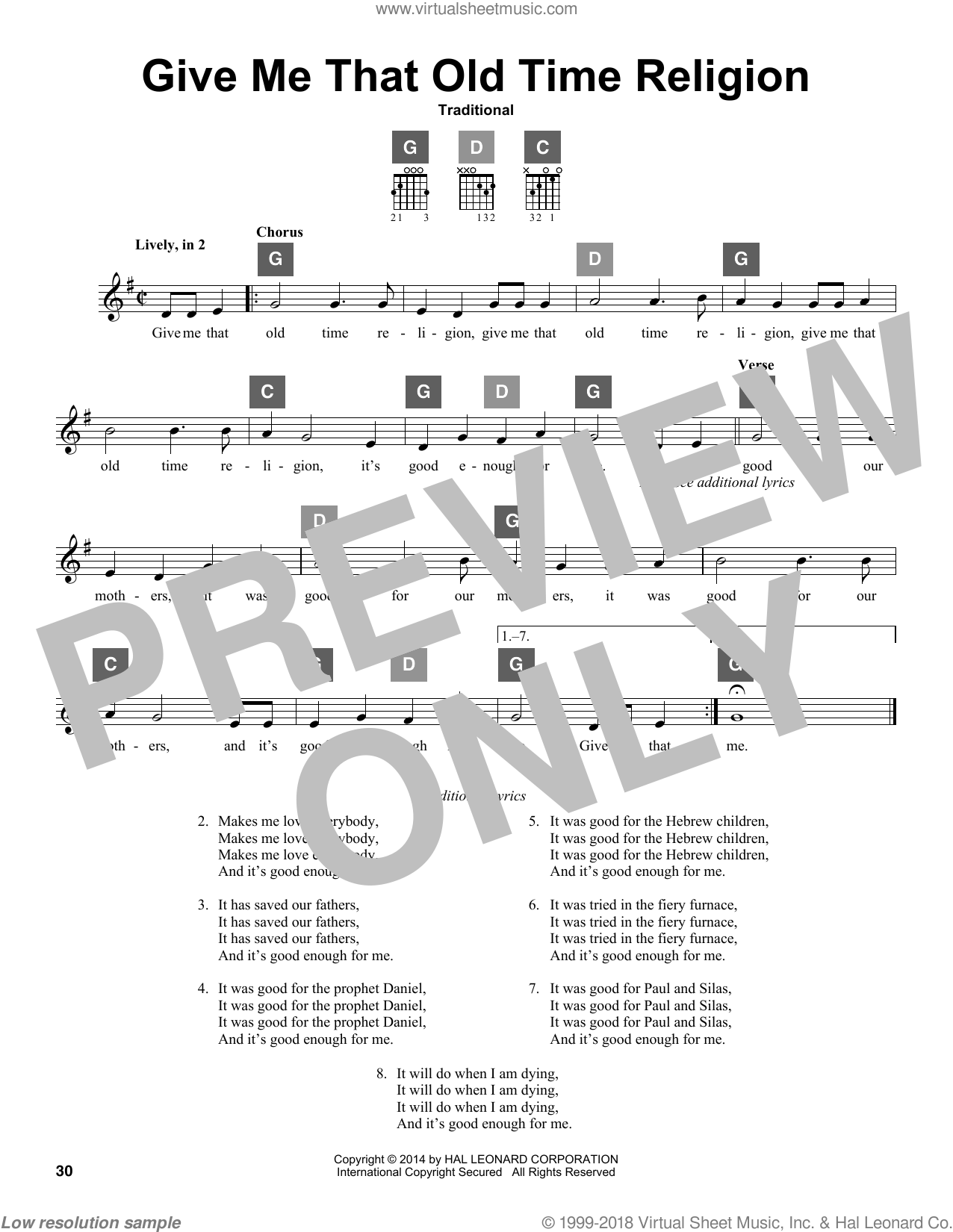 Give Me That Old Time Religion sheet music for guitar solo