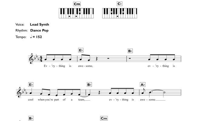 Sara Everything Is Awesome Sheet Music For Piano Solo Chords Lyrics Melody