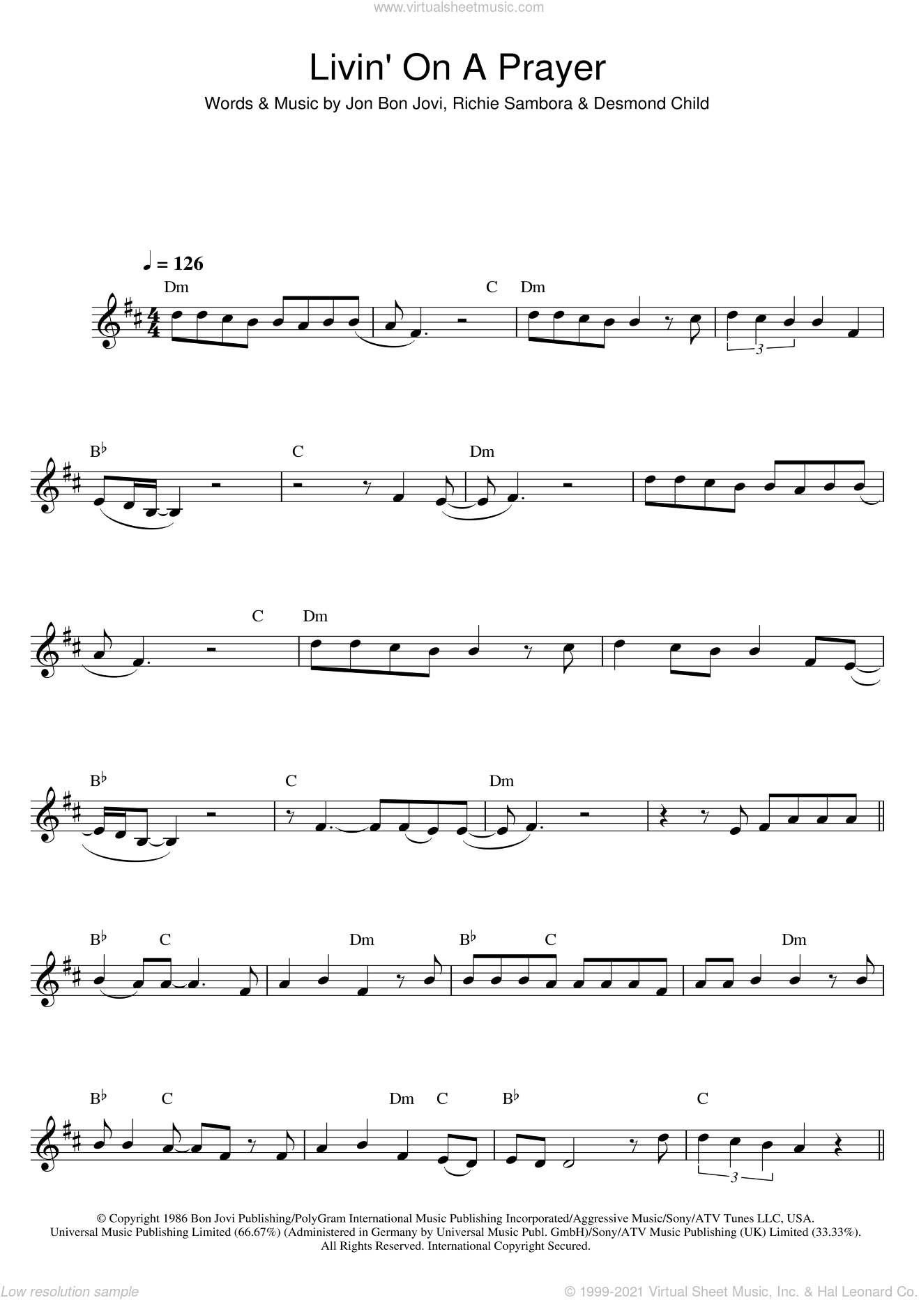 Jovi - Livin' On A Prayer sheet music for saxophone solo [PDF]