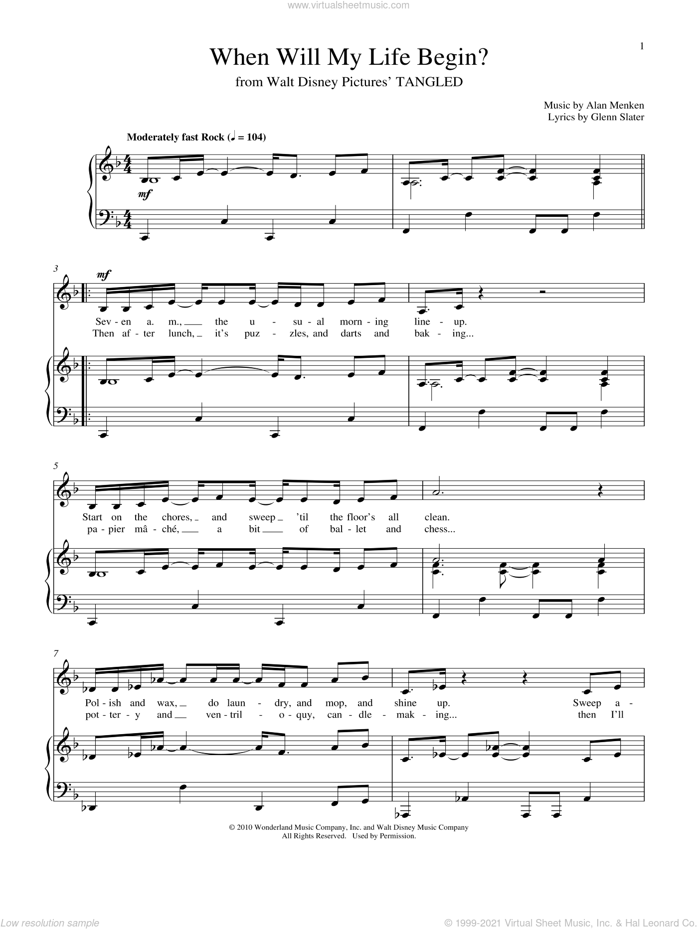 Slater When Will My Life Begin Sheet Music For Voice