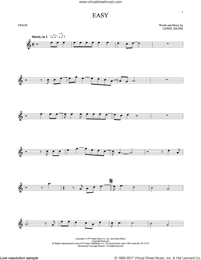 Commodores - Easy sheet music for violin solo [PDF ...