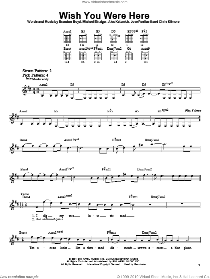 Incubus Wish You Were Here Sheet Music For Guitar Solo Chords