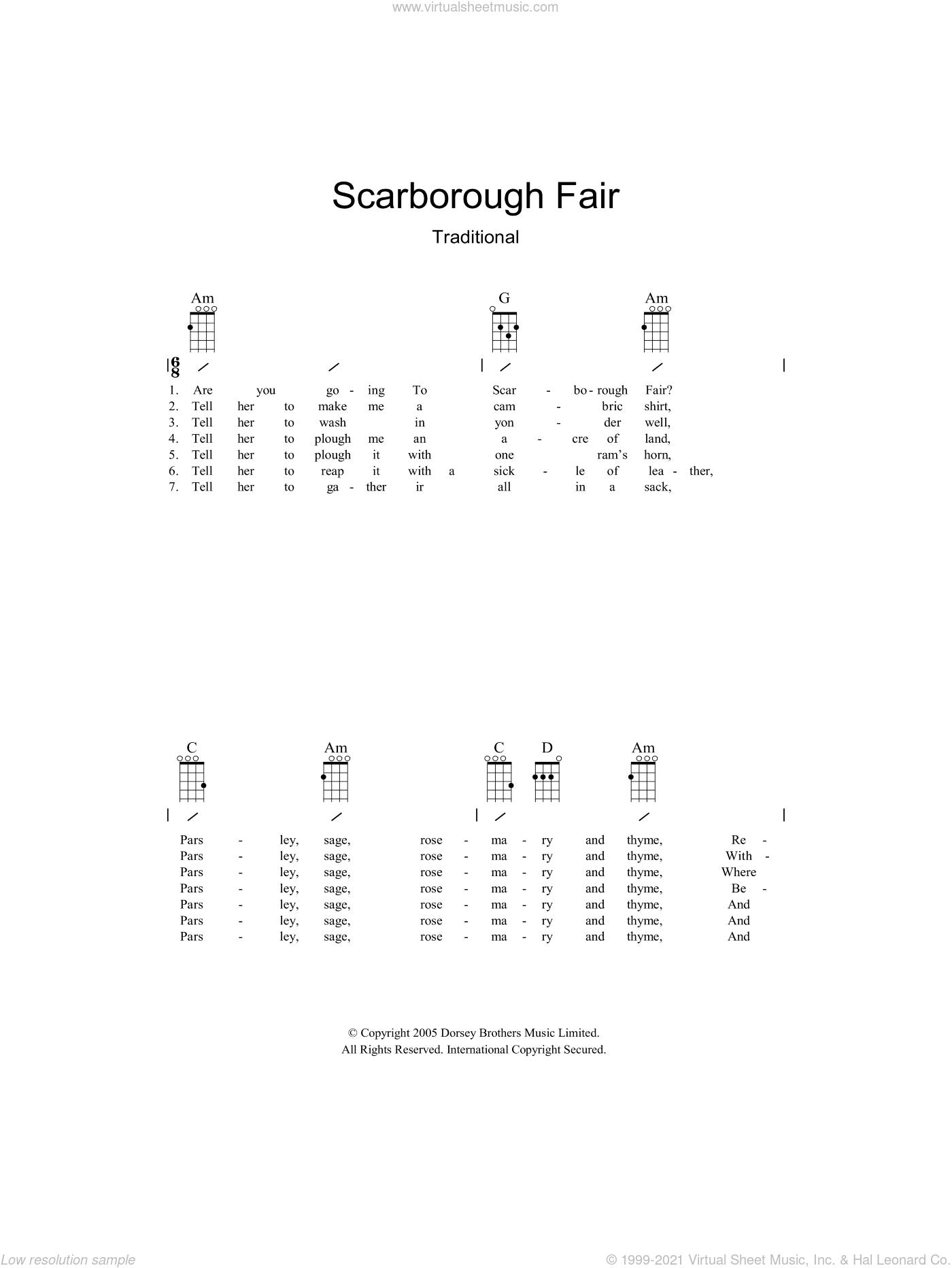 Scarborough Fair sheet music for guitar (chords)