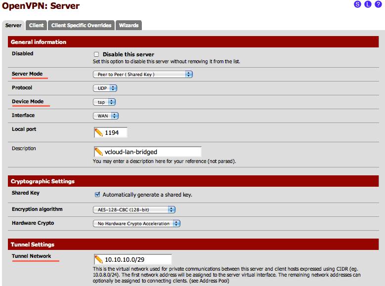 Create a stretched LAN between your site and vCloud using pfSense