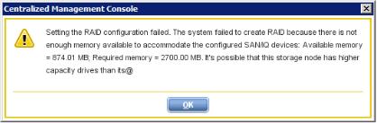 StoreVirtual Raid creation error