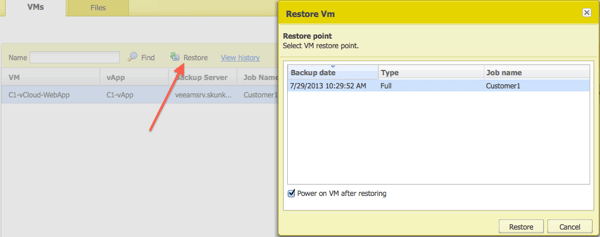 User restores a VM from Enterprise Manager