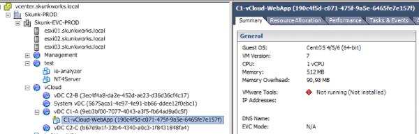 How vCenter sees a vCloud VM