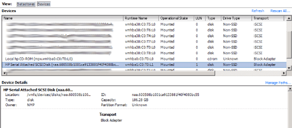 SSD in ESXi device view
