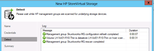 HP StoreVirtual correctly detected