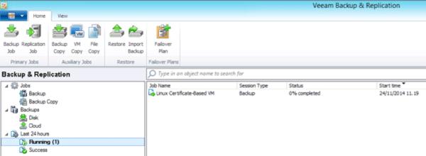 Quick backup progress in Veeam console