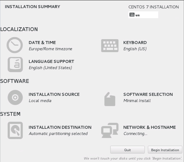Centos7 install summary