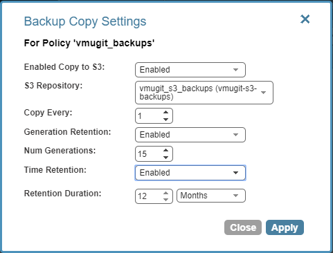 Configure Veeam N2WS copies to S3 and export them via backup