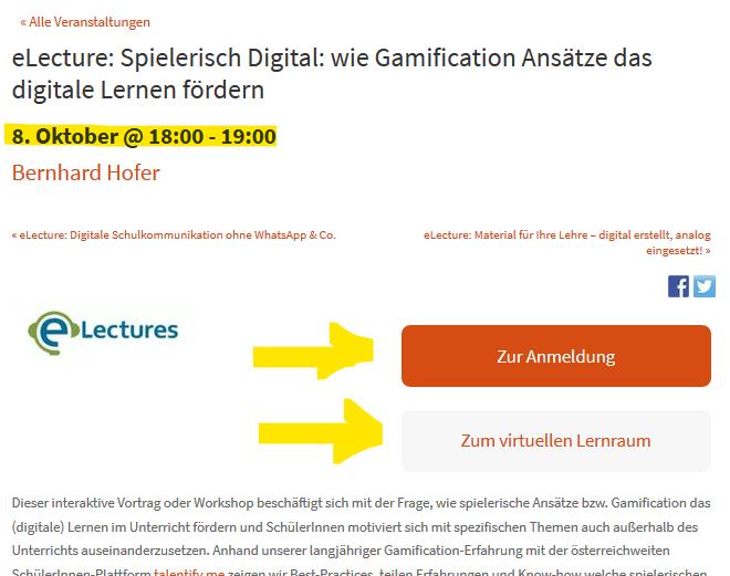 Detaileintrag einer eLecture mit Termin, Link zur PH-Online Anmeldung und Link in den virtuellen Lernraum