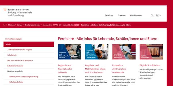 (c) BMBWF, Screenshot-Detail der Sammelseite.