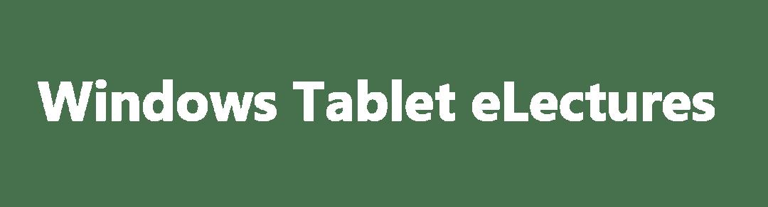 Header: Windows Tablet eLectures