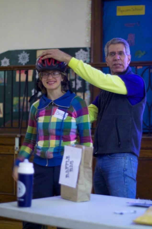 Bessie Ryan shows off her FREE DOT helmet. (She called 311) NICE HELMET!