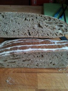 100% white wheat sourdough bread made with stone milled white flour from Stoate's.