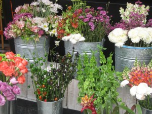 Lovely display of flowers outside Mercado Roma