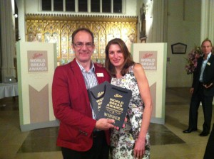 A little blurry!  Shona and Peter with their awards