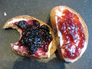 Simple, no knead rye bread with fresh jam