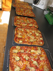 Tony Meredith's pizzas for the Tring festival baked and ready for sale
