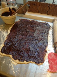 Chocolate spread right to the edges of the dough