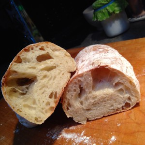 Inside of the ciabatta based on a recipe from Paul Hollywood