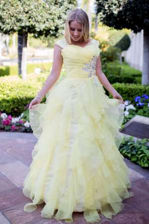 Joli Yellow Belle Inspired Modest Prom Dress with Sleeves