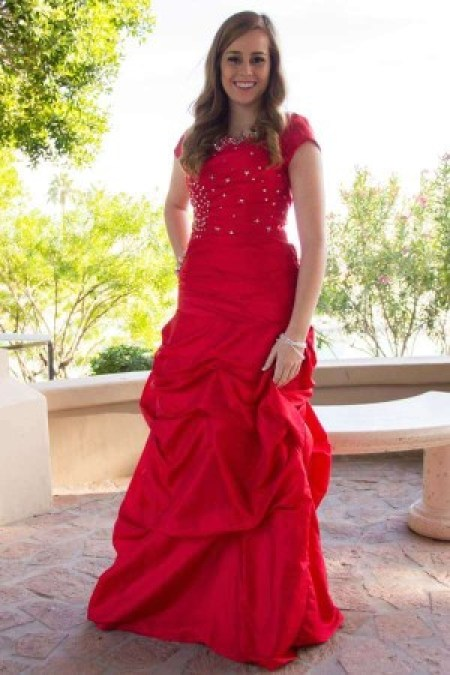 Red Modest Prom Dress with Sleeves