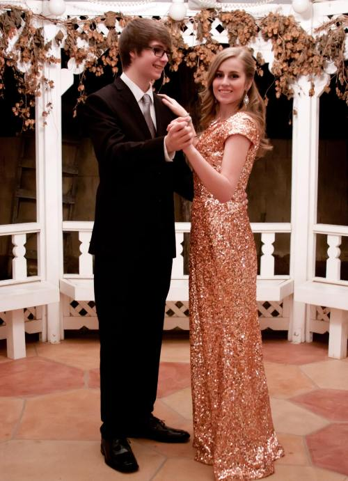 Valerie Rose Gold Sequin Modest Prom Dress with Sleeves