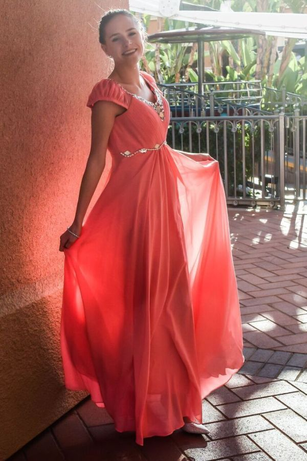Peach Pink Modest Prom Dress with Sleeves