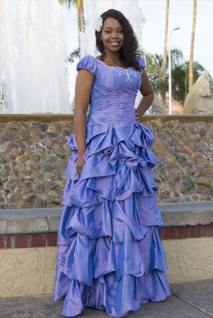 Savannah Blue Modest Prom Dress with Sleeves