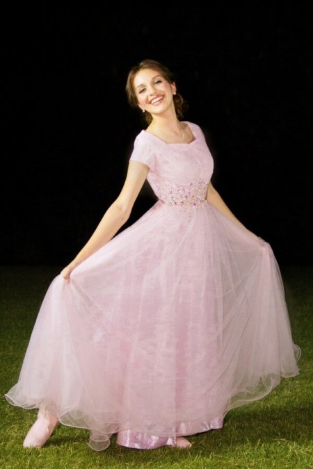 Arianna Pink Tulle Modest Prom Dress with Sleeves