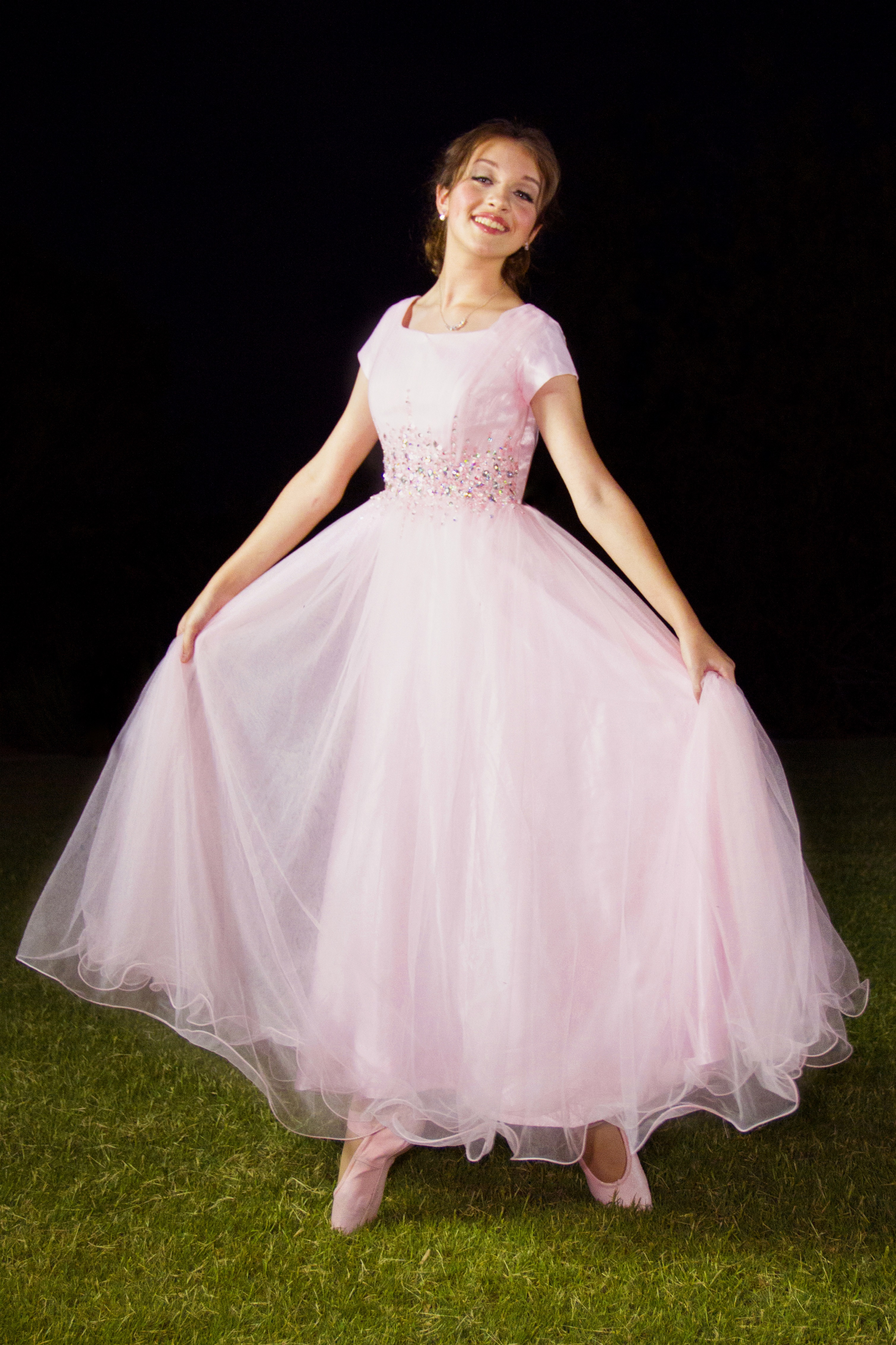 Arianna Pink Modest Prom Dress with Sleeves